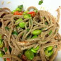 Soba Edamame Salad with Orange Wasabi Almond Dressing