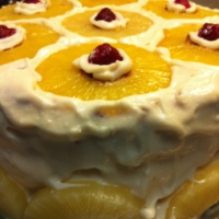 Frosted Two Layer Pineapple Upside Down Cake