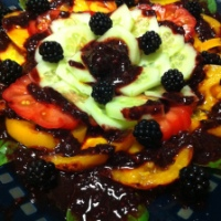 Cucumber and Heirloom Tomato Salad with Blackberry Vinaigrette