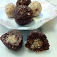Raw Cocoa Truffles with a Coconut Center & Cinnamon and Sucanat Coconut Truffles