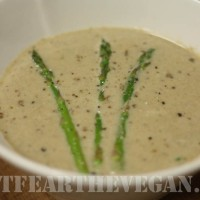 Creamy Walnut, Roasted Asparagus and Mushroom Soup