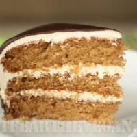 Orange Cake with Orange 'Butter' Cream Layers, Covered with Orange Chocolate Ganache