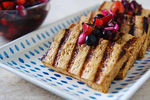 Grilled Tofu with Blueberry Peach Salsa via FatFreeVegan