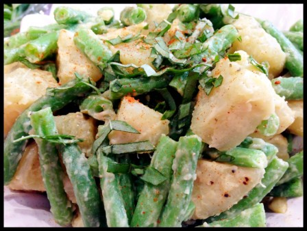 Maple-Dijon Green Bean Sweet Potato Salad via Plantiful Wellness