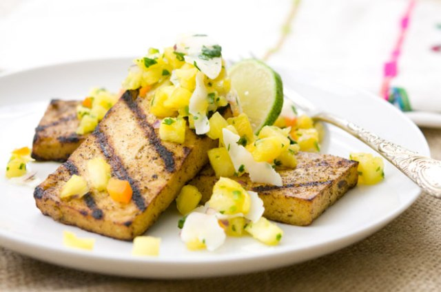 Grilled Jerk Tofu w/ Pineapple and Coconut Salsa via Peaceful Plate