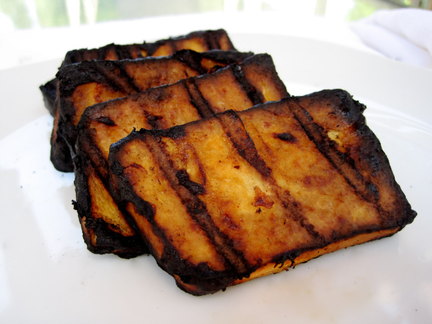 Grilled Tofu with Rhubarb BBQ Sauce via Laurie Sadowski