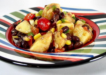 Southwestern Black Bean Potato Salad via fatfreevegan.com