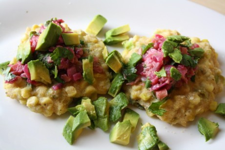 Scallion Corn Fritters with Rhubarb Avocado Salsa via The Vegan Pact