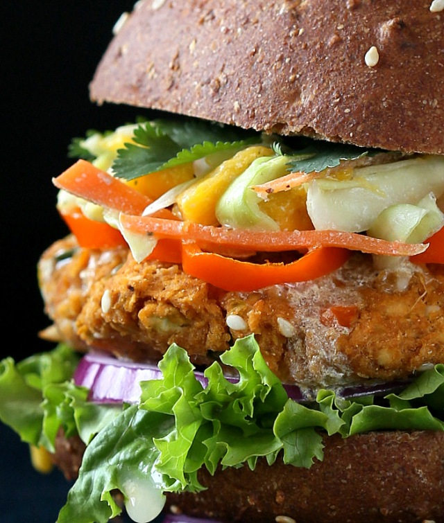 BBQ Lentil Veggie Burger with Mango Slaw via Vegan Richa
