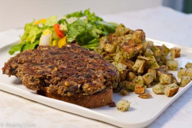 Scott Jurek's Lentil-Mushroom Burgers via fitskitz.com