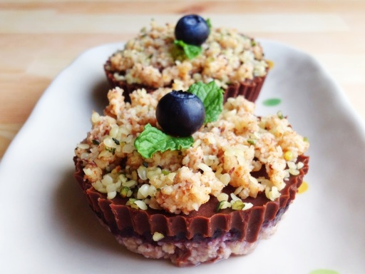 Wholly Vegan created Raw Chocolate Blueberry Hazelnut Crumb Cups