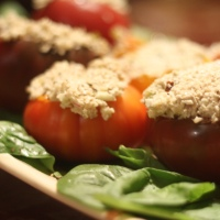 "Vegan MOFO, Day 20: Brazil Nut ""Tuna"" Stuffed Heirloom Tomatoes"